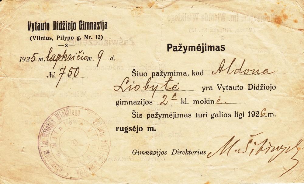 A. Liobytės – Vytauto Didžiojo gimnazijos mokinės – pažymėjimas. Vilnius, 1925 m.