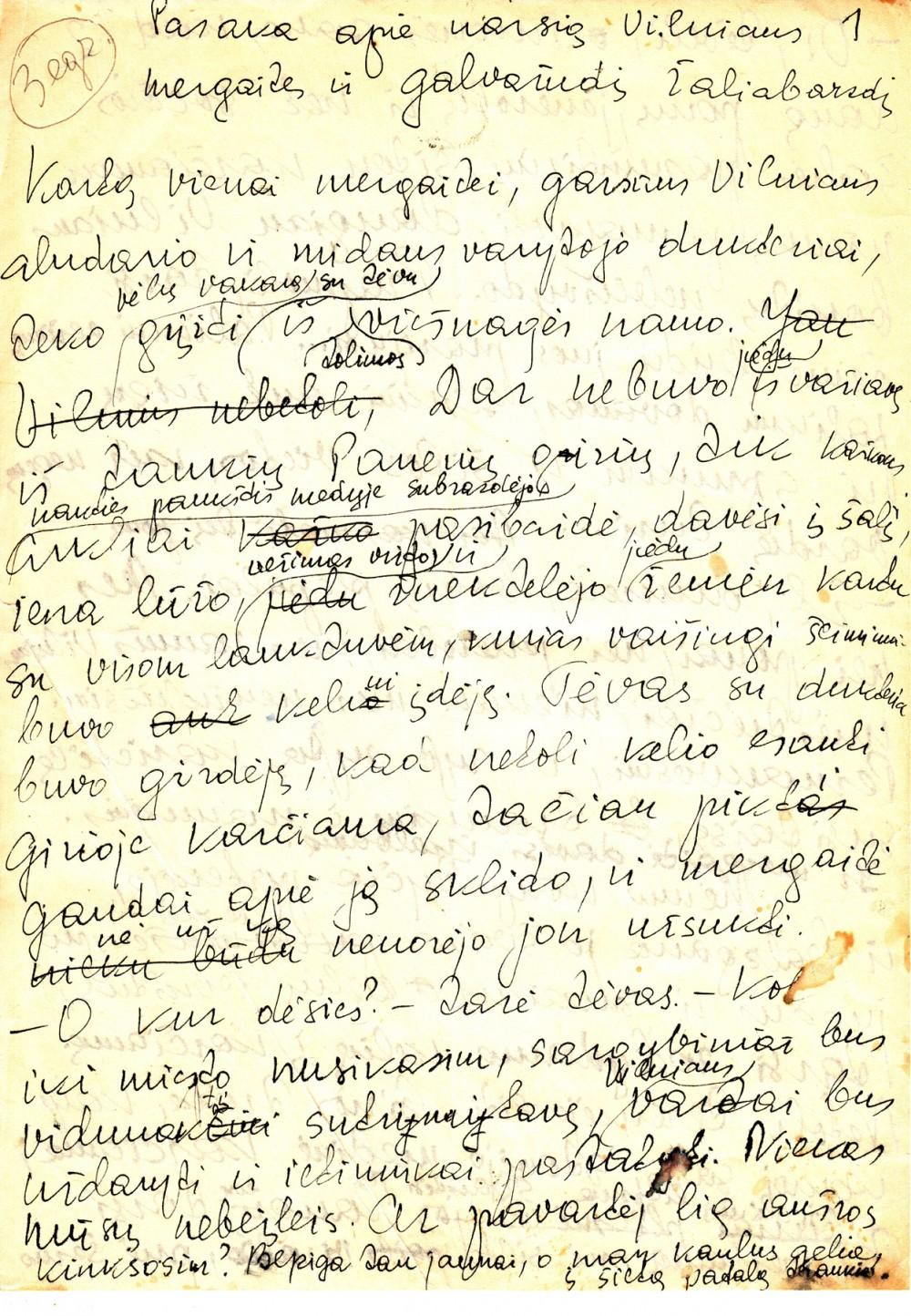 """A. Liobytės """"Pasakos apie narsią Vilniaus mergaitę ir galvažudį Žaliabarzdį"""" rankraštis"""