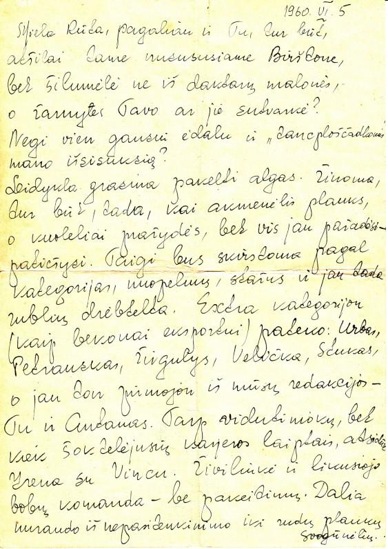 A. Liobytės laiškas R. Saukienei. Vilnius, 1960 m.