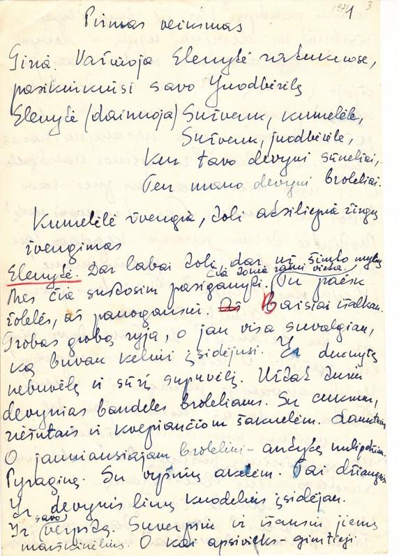"""A. Liobytės pasakos """"Devyniabrolė"""" rankraštis"""