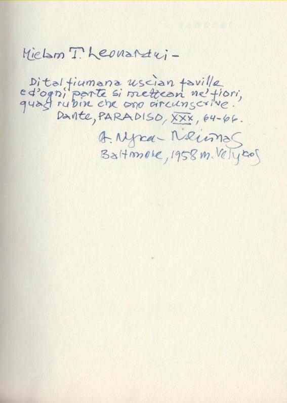 A. Nykos-Niliūno dedikacija L. Andriekui