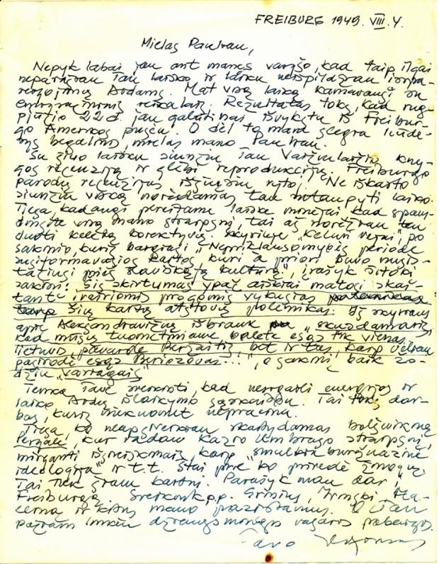 A. Nykos-Niliūno laiškas P. Jurkui