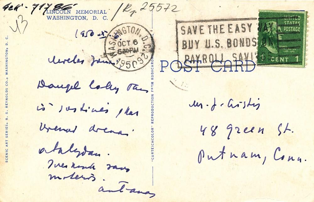 A. Vaičiulaičio atvirlaiškis J. Aisčiui iš Vašingtono. 1950 m., 2