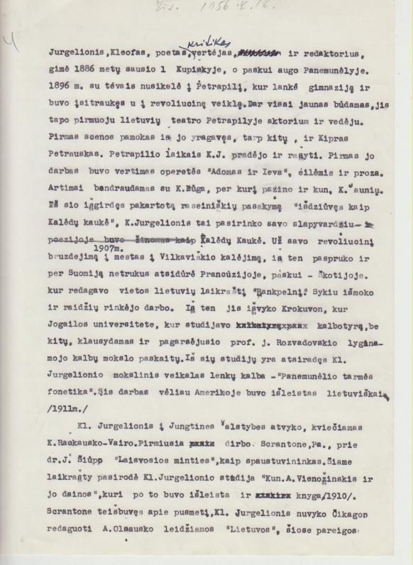 A. Vaičiulaičio rašyta K. Jurgelionio biografija. 1956 m.