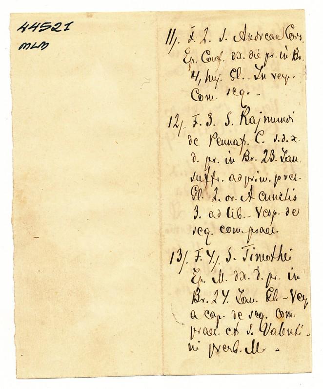 """A. Vienažindžio ranka juodu rašalu rašytas raštelis lotynų kalba, rastas knygoje """"Breviarium Romanum"""" (pirma pusė)"""
