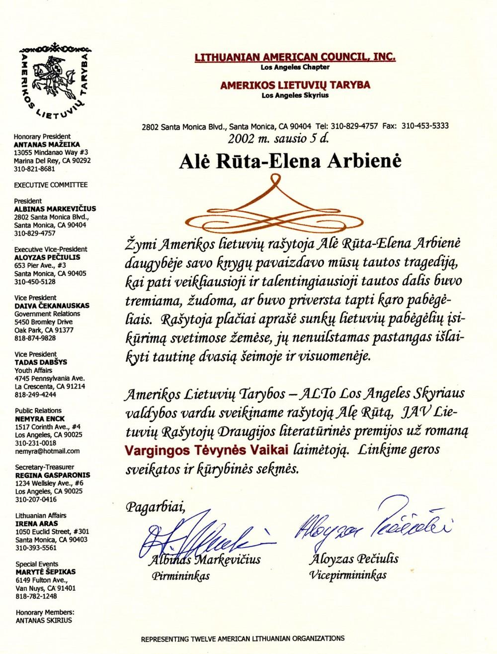 Amerikos lietuvių tarybos Los Andželo skyriaus sveikinimas rašytojai Alei Rūtai, laimėjusiai LRD premiją. 2002 m. sausio 5 d.