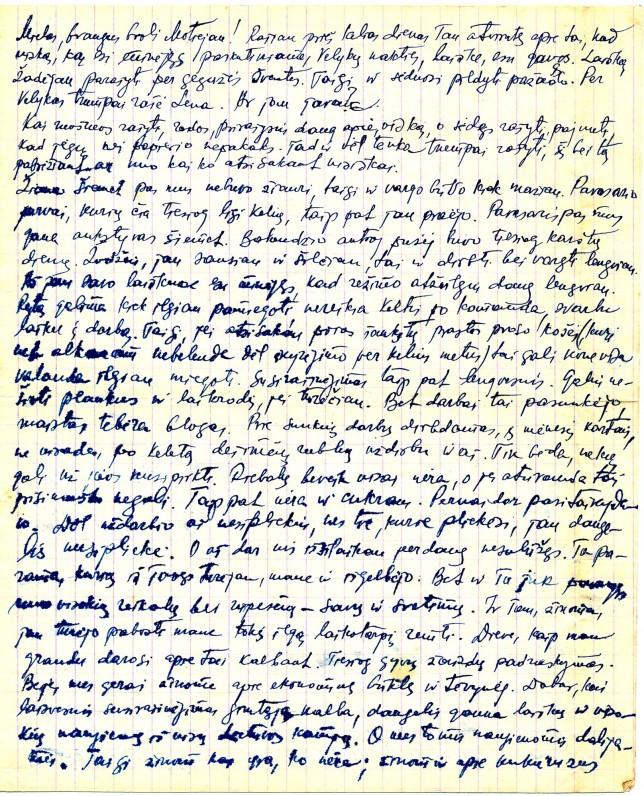 Antano Miškinio laiškas iš tremties broliui Motiejui