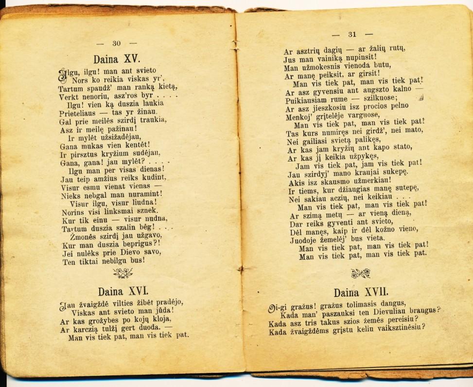 """Antano Vienažindžio eilėraštis """"Ilgu ilgu man ant svieto"""". 1898 m. J. Žebrio leidime"""
