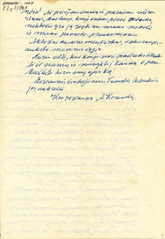 Antano Vienuolio-Žukausko laiškas Onai Dabrilaitei, pabaiga