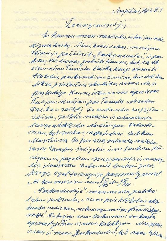 Antano Vienuolio-Žukausko laiškas Onai Dabrilaitei