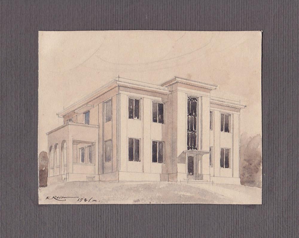 Architekto Karolio Reisono piešinys – Maironio namas Aleksote. 1931 m. | Drawing by architect Karolis Reisonas – Maironis' house in Aleksotas. 1931