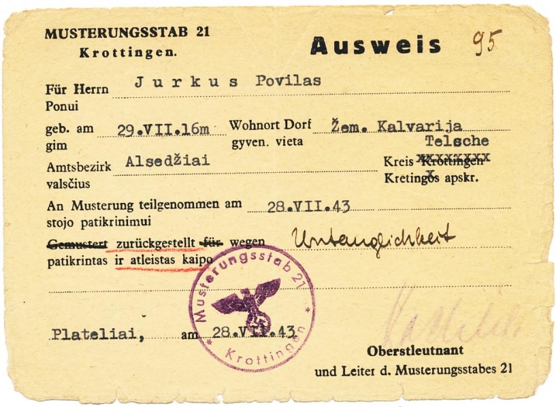 Asmens pažymėjimas, išduotas 1943 m. balandžio 18 d.