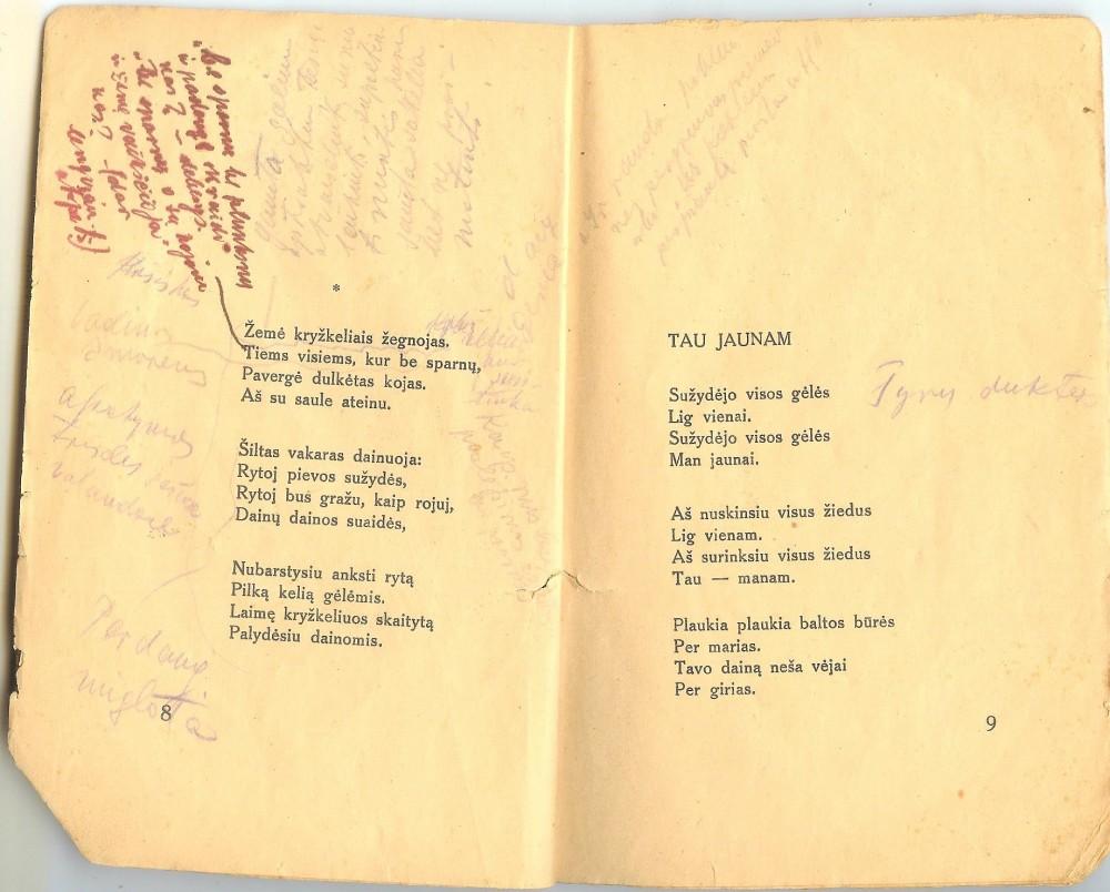 """Atverstas eilėraščių rinkinys """"Anksti rytą"""" su dramaturgo Juozo Grušo pastabomis"""