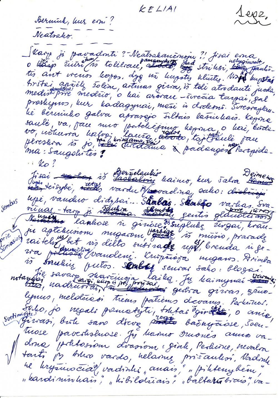 B. Baltrušaitytės rankraštis, 2