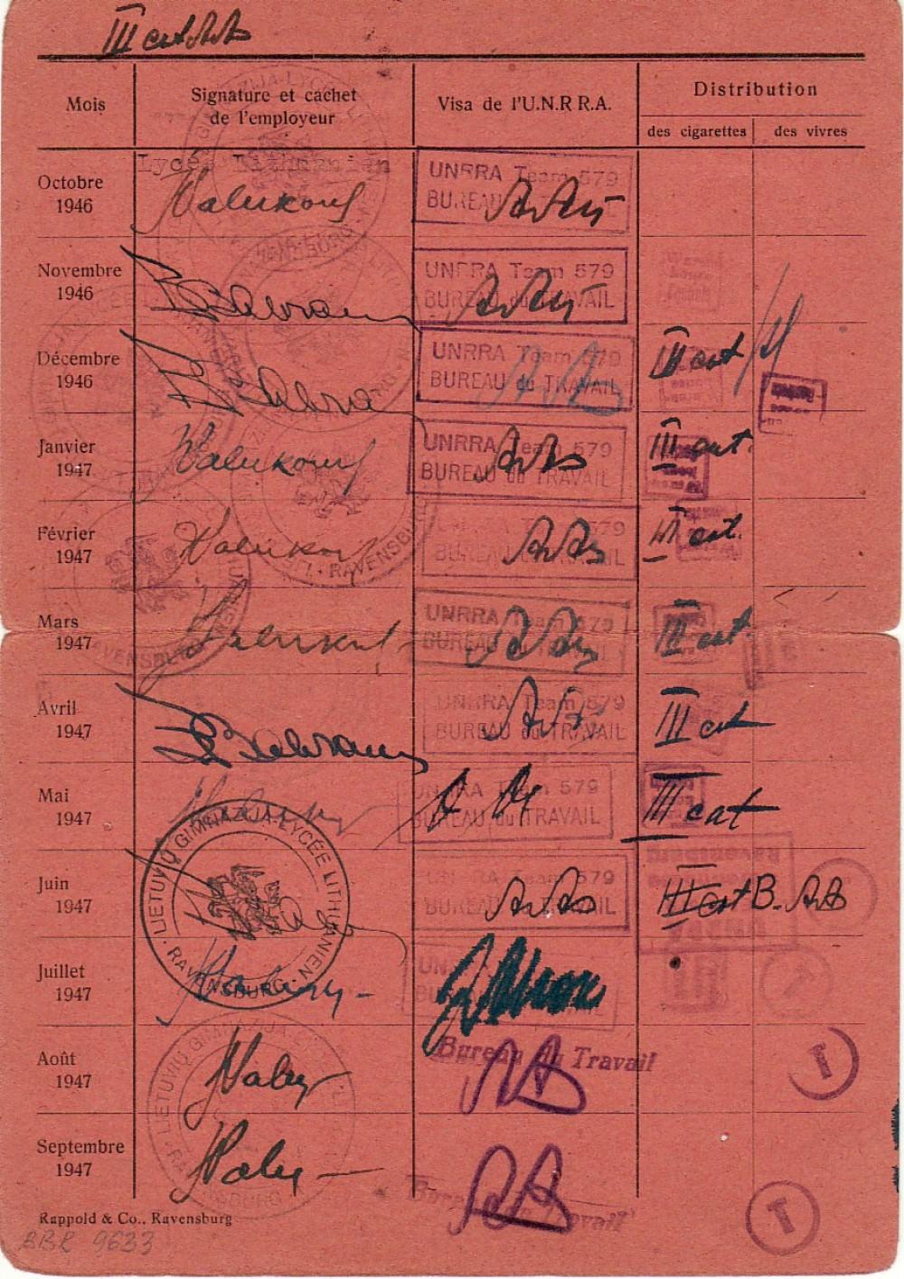 B. Brazdžionio darbo kortelė Nr. 166. 1946–1947 m. 2