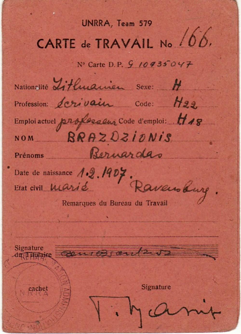 B. Brazdžionio darbo kortelė Nr. 166. 1946–1947 m.