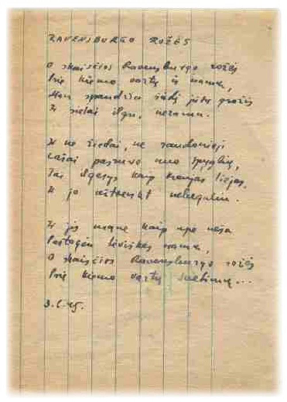 """B. Brazdžionio eilėraščio """"Ravensburgo rožės"""" rankraštis"""