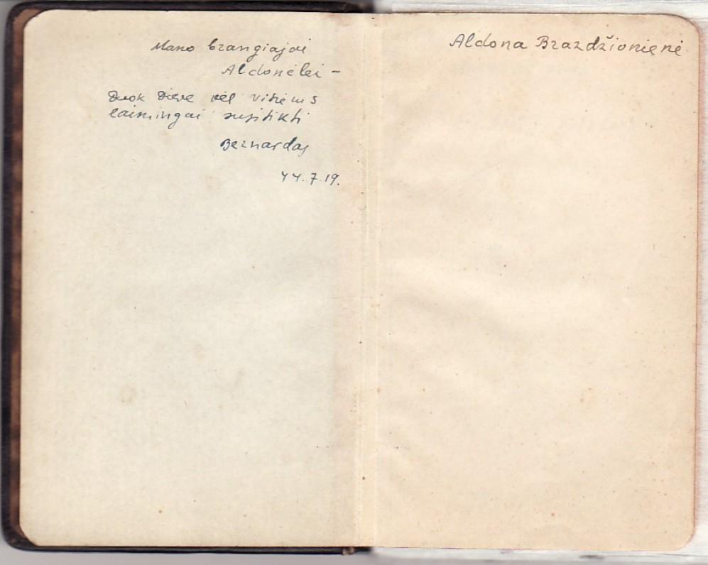 """B. Brazdžionio įrašas žmonai rankraštinėje knygelėje """"Svetimi kalnai"""""""