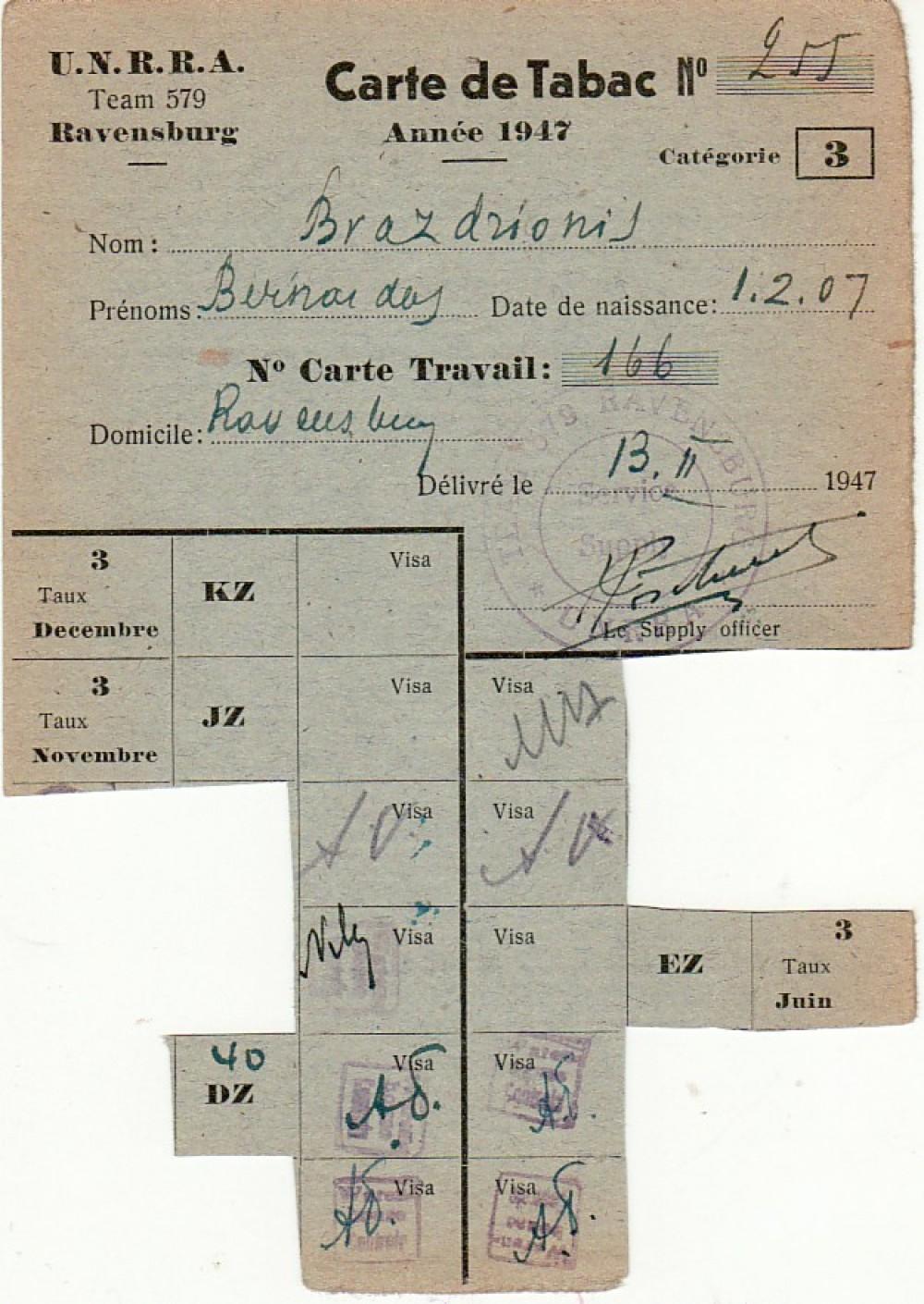 B. Brazdžionio tabako kortelė Nr. 255, išduota Ravensburke 1947 m. vasario 13 d.