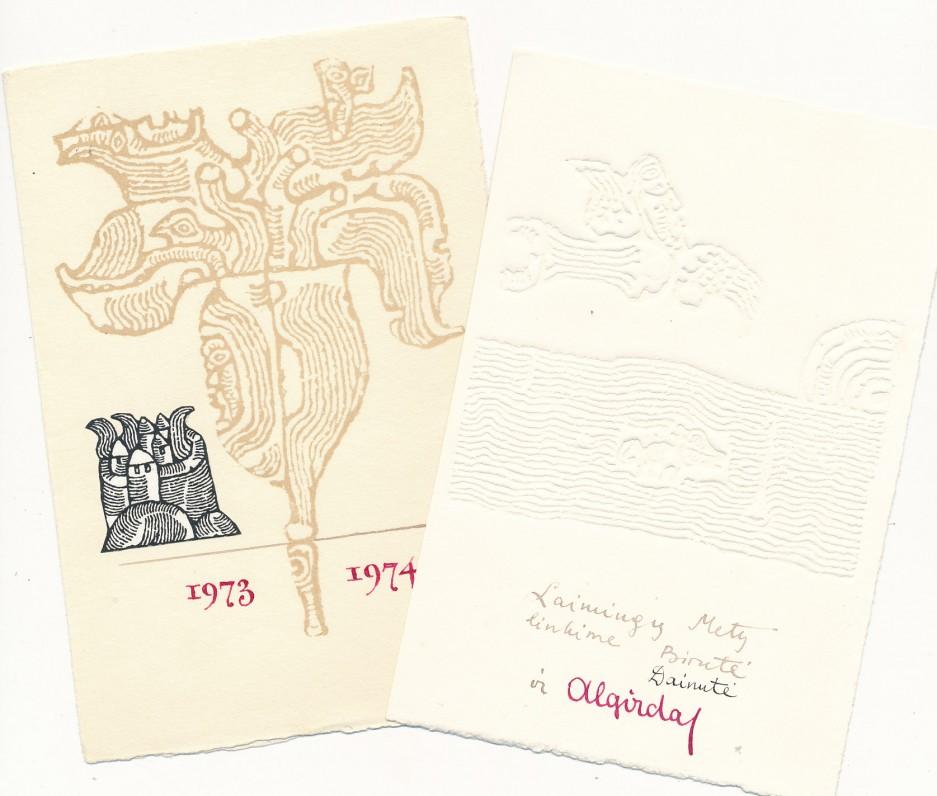 B., D. ir A. Steponavičių naujametinis sveikinimas A. Liobytei. 1973 m.
