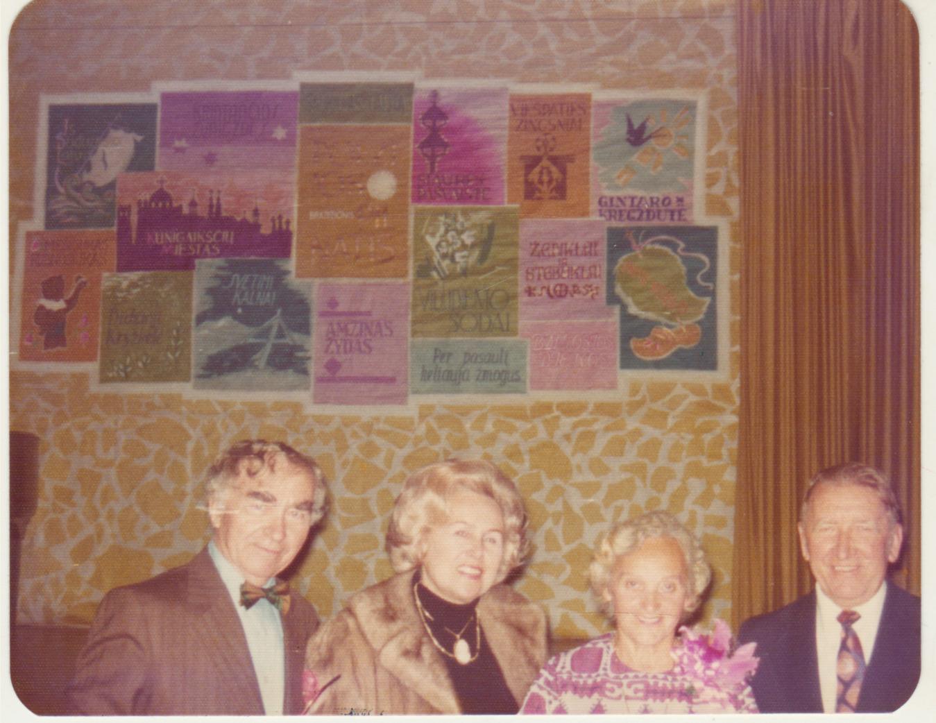 Iš kairės: Bern. Brazdžionis, E. Budriūnienė, A. Brazdžionienė, Bronius Budriūnas. 1976 m.