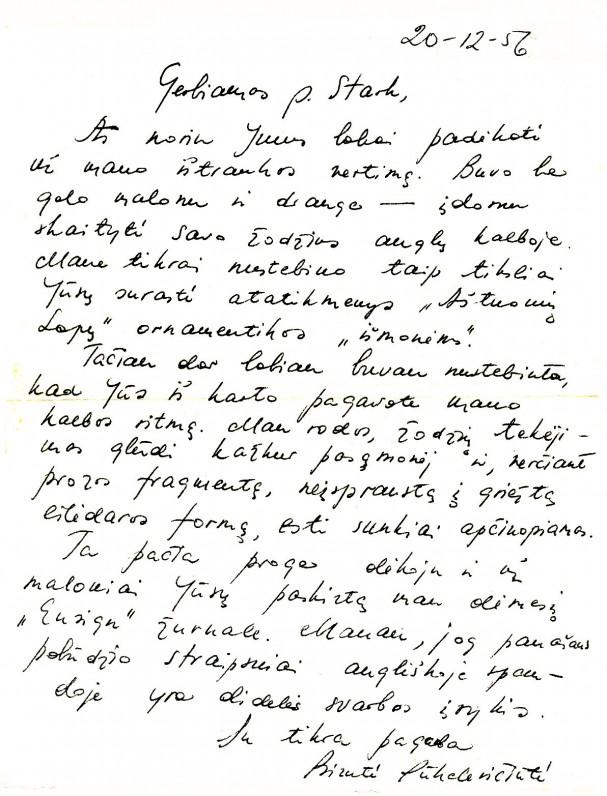 Birutės Pūkelevičiūtės laiškas M. Starkui