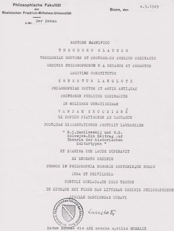 Bonos Fridricho Vilhelmo universiteto filosofijos daktarės diplomas. 1949 m.