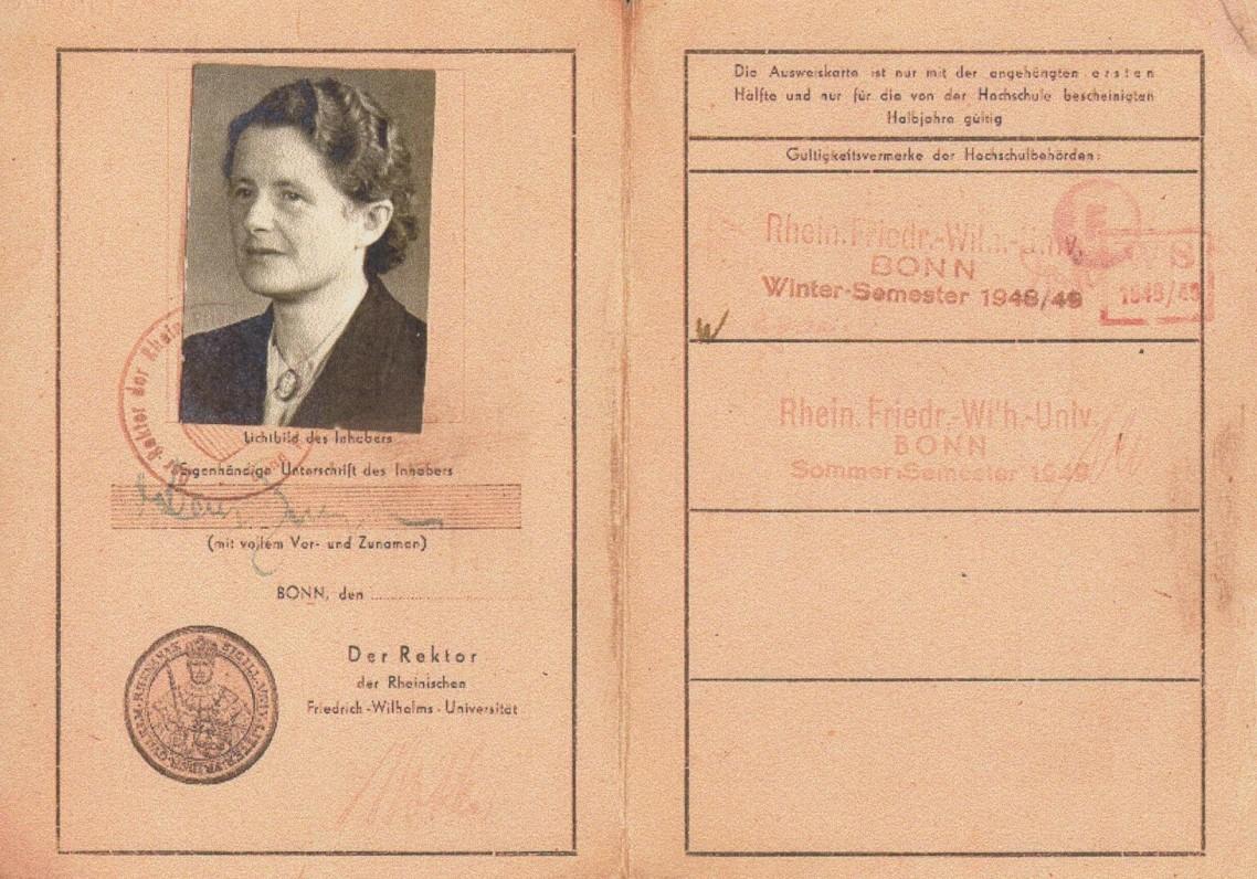 Bonos Fridricho Vilhelmo universiteto studentės pažymėjimas. 1948 m.