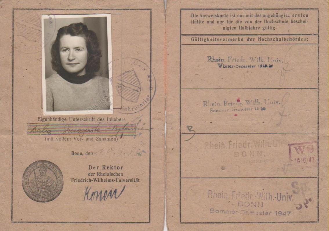 Bonos universiteto studentės pažymėjimas. 1946 m.