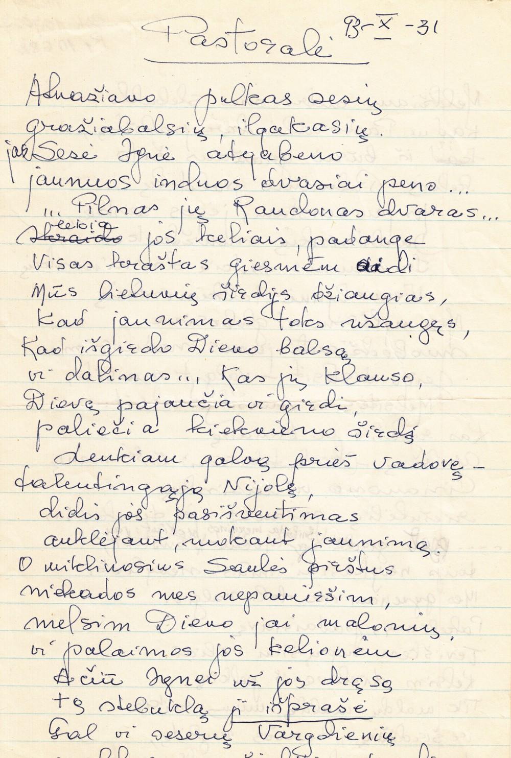 """D. Lipčiūtės-Augienės rankraštis """"Pastoralė"""". 1993 m. spalio 31 d."""