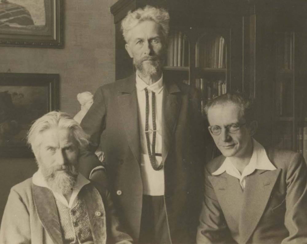 Dail. H. Hoepner Fidus, Vydūnas, prof. V. Falkenhanas. Karaliaučius, 1935 m.