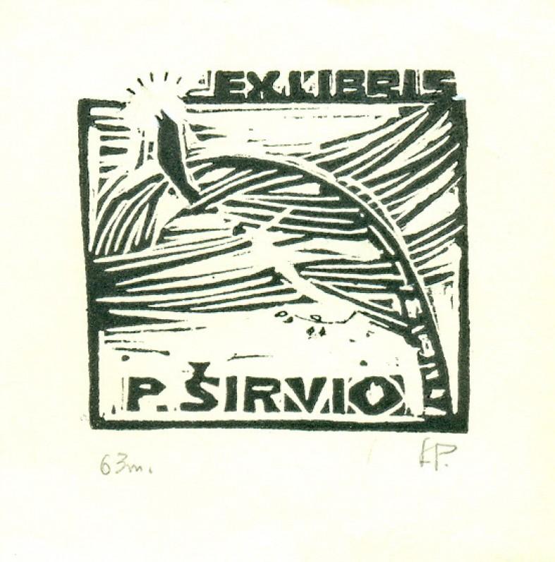 Dail. L. Pučkoriūtė. P. Širvio ekslibrisas. Lino raižinys. Vilnius, 1963 m.