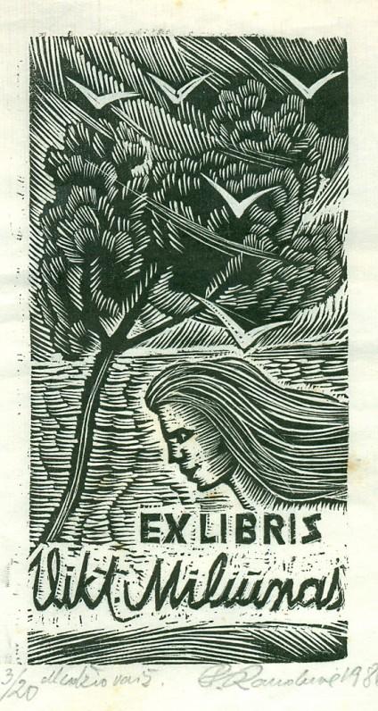 Dail. P. Rauduvė. V. Miliūno ekslibrisas. Medžio raižinys. Vilnius, 1986 m.