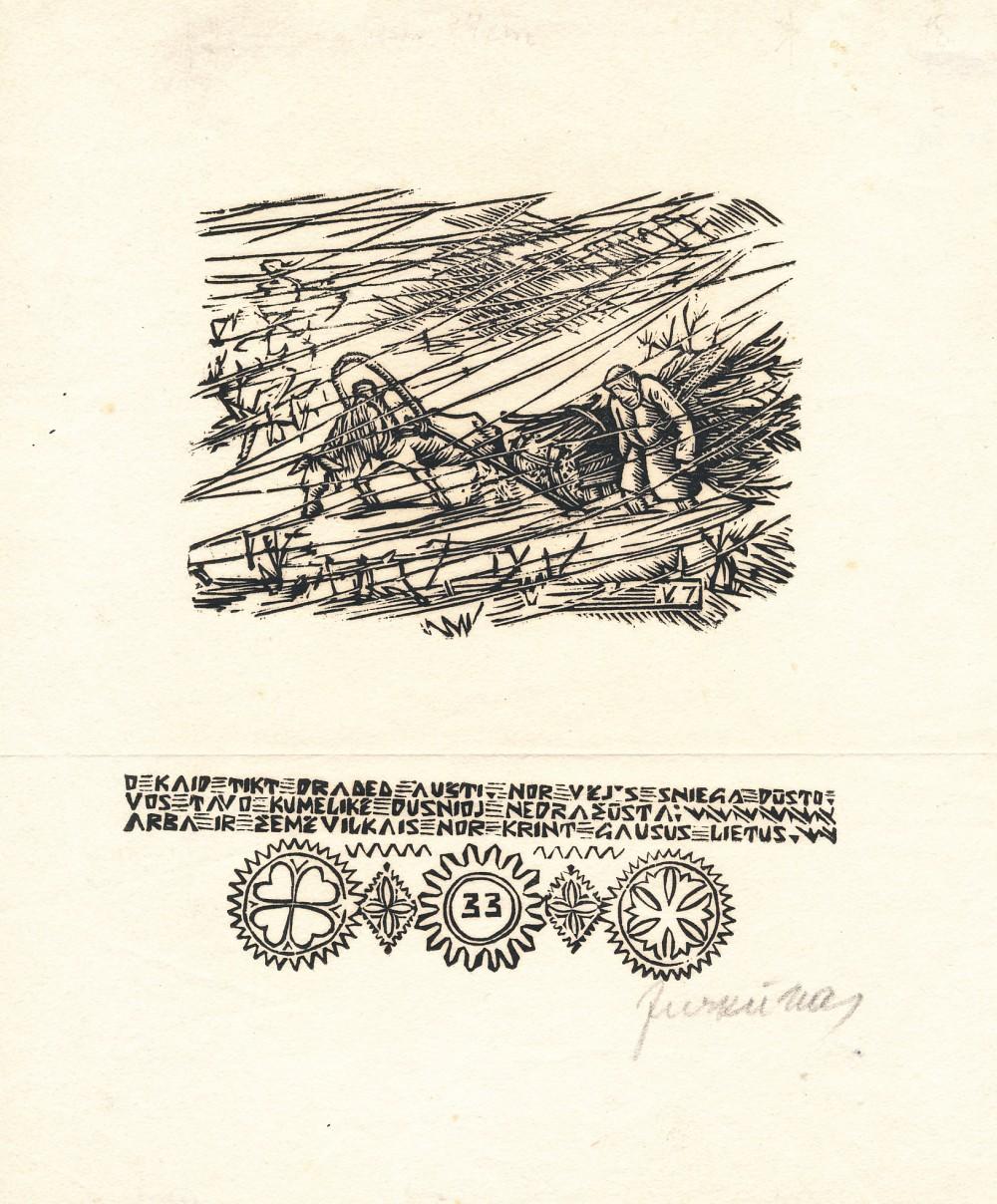 """Dail. Vytautas Jurkūnas. Iliustracija D. Poškos """"Mužikui Žemaičių ir Lietuvos"""". 1949 m. 2"""