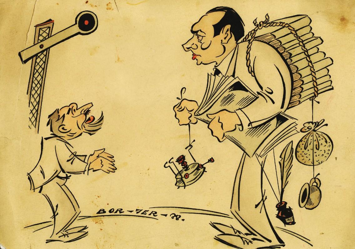 """Dailininkas Borisas Jermolajevas. Šaržas """"J. Grušas ir L. Gira Kauno geležinkelio stotyje"""". Tušas, akvarelė. 1938. Kaunas"""