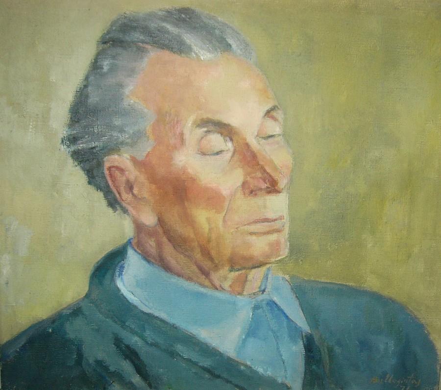 Dailininkas Bronius Uogintas. J. Grušo portretas. Drobė, aliejus. 1971 m. Panevėžio dramos teatro dovana rašytojo 70-mečio proga