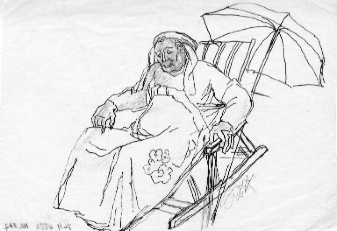 """Dailininkė Jadvyga Mozūraitė-Klemkienė. Piešinys """"J.Grušas sode prie savo namų"""". Vaškinis popierius, tušas. 1986 m. Kaunas"""