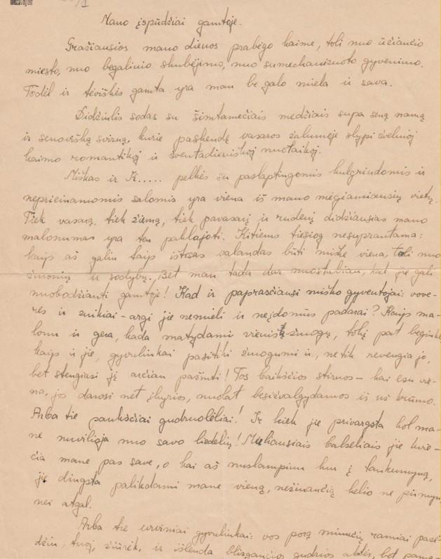 Dalios Sruogaitės rankraštis. 1939 m.