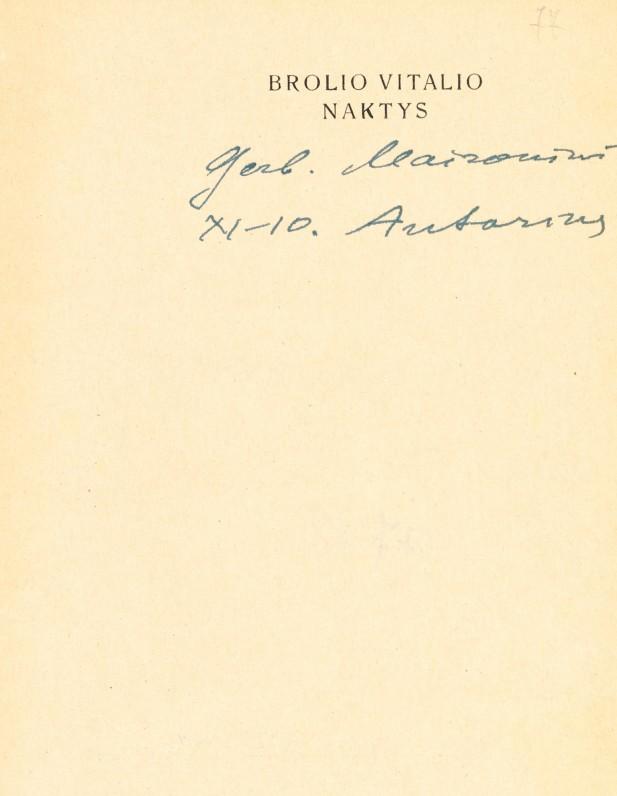 """Dedikacija Maironiui, įrašyta knygoje """"Brolio Vitalio naktys"""""""