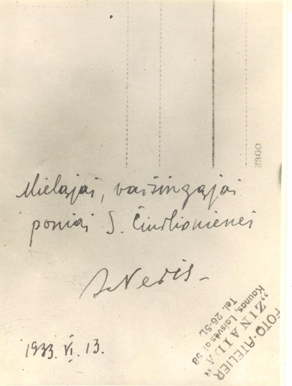 Dedikacija S. Čiurlionienei. 1933 m. birželio 13 d.