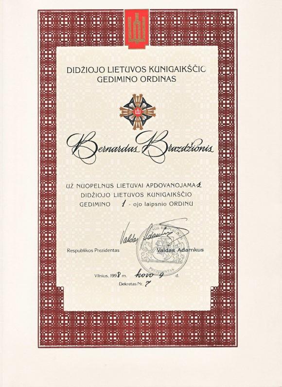 Didžiojo Lietuvos kunigaikščio Gedimino I laipsnio dokumentas