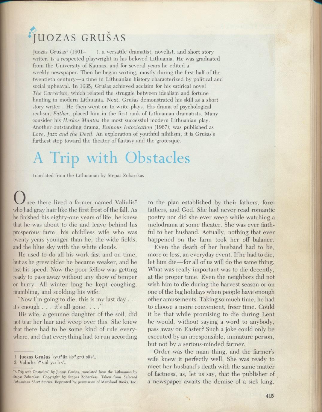 Didžiosios Britanijos ir Vakarų literatūra, III leidimas. Niujorkas, 1979. J. Grušo biografija