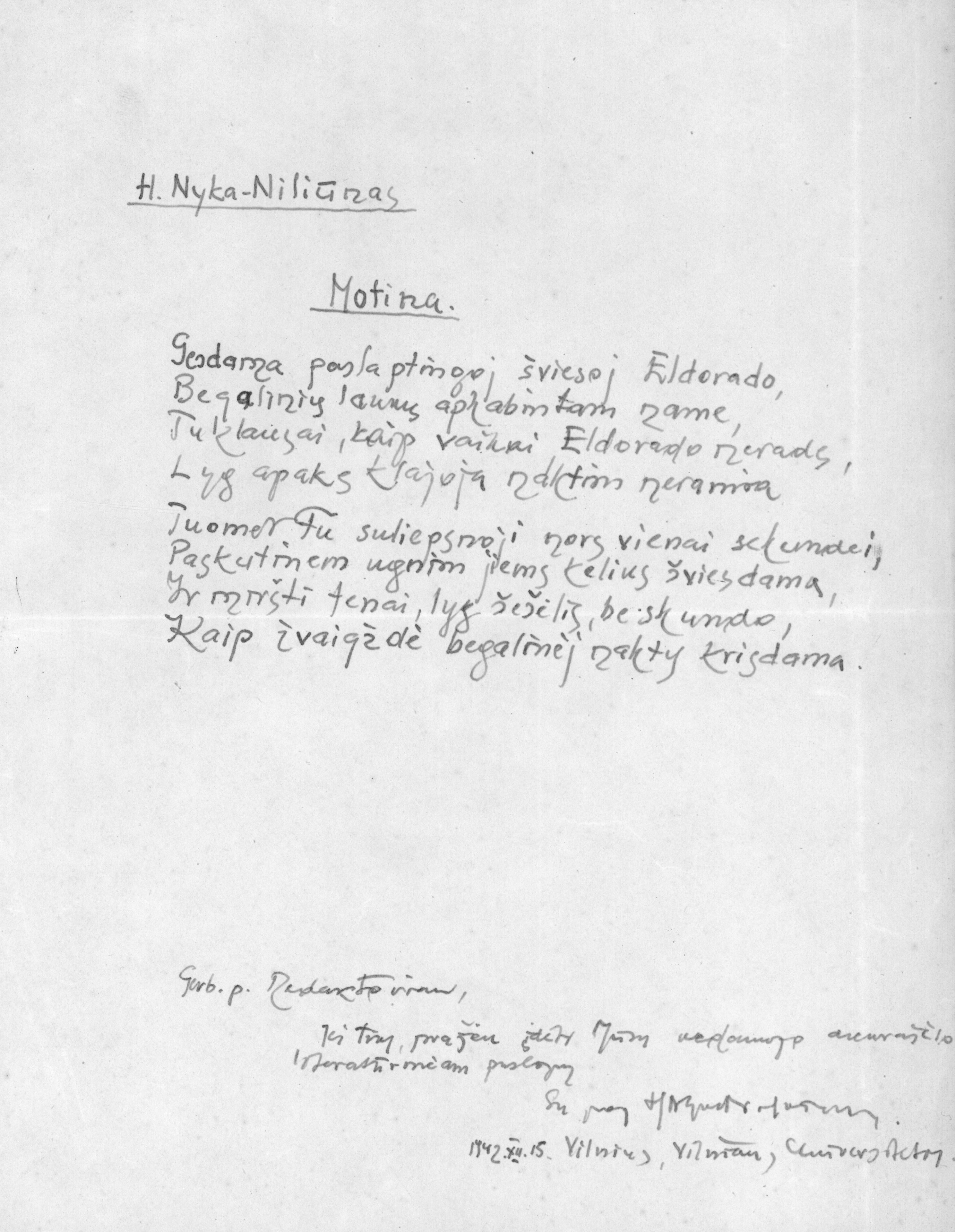 "A. Nykos-Niliūno rankraštis ""Motinai"""