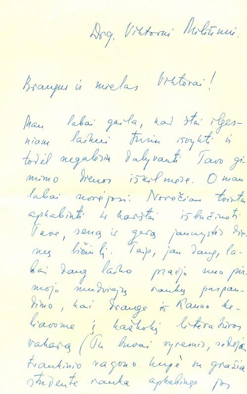 E. Mieželaičio laiškas-sveikinimas V. Miliūnui 50-mečio proga. Vilnius, 1966 m. sausio 19 d.