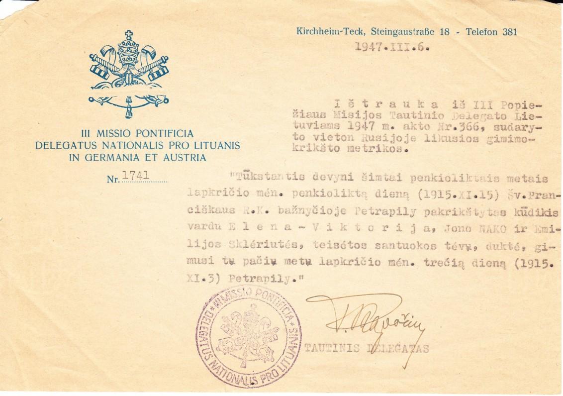 E. V. Nakaitės gimimo liudijimo kopija, išduota 1947 m. Vokietijoje