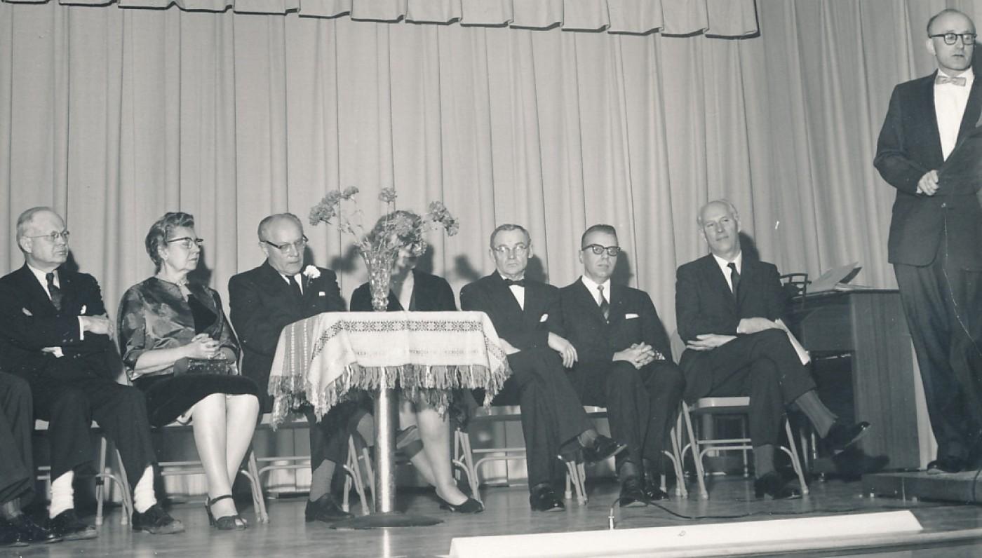 F. Kiršos 70-mečio jubiliejus Bostone. 1961 m. Iš dešinės – A. Vaičiulaitis, S. Santvaras, J. Gimbutas, J. Kapočius, F. Kirša