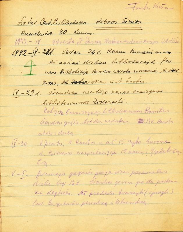 F. Kiršos dienoraščio fragmentas. Kaunas. 1942 m.