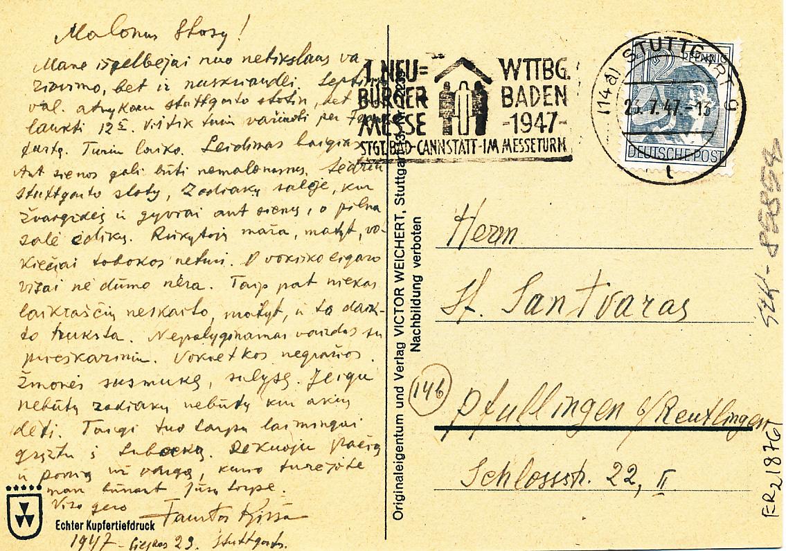 F. Kiršos laiškas S. Santvarui, 2