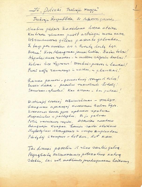 F. Kiršos rankraštis