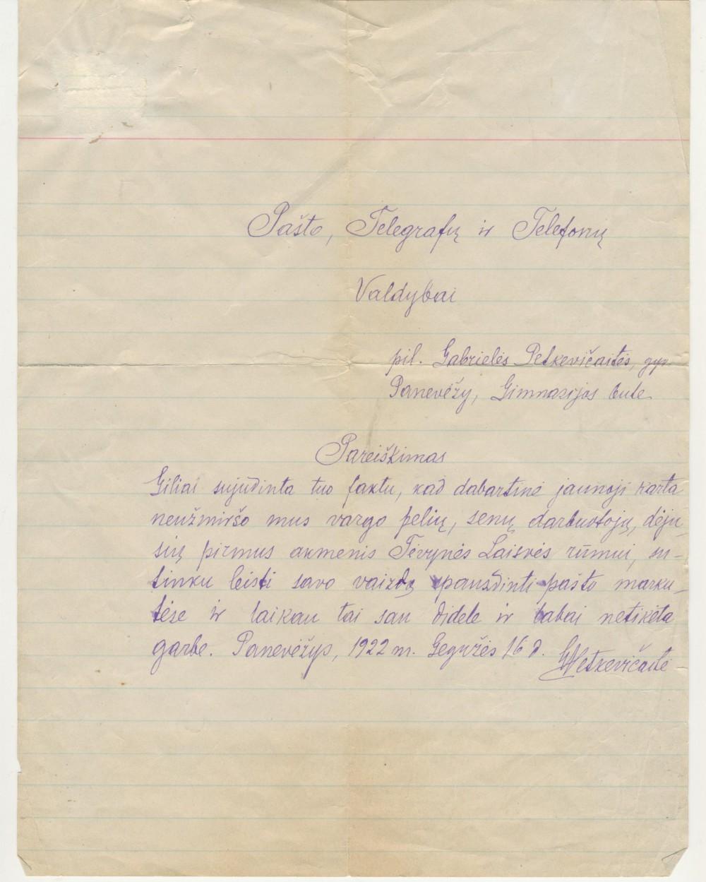 G. Petkevičaitės laiškas Pašto valdybai. 1922 m. gegužės 16 d.